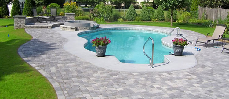 The decking around a pool male models picture for Affordable pools