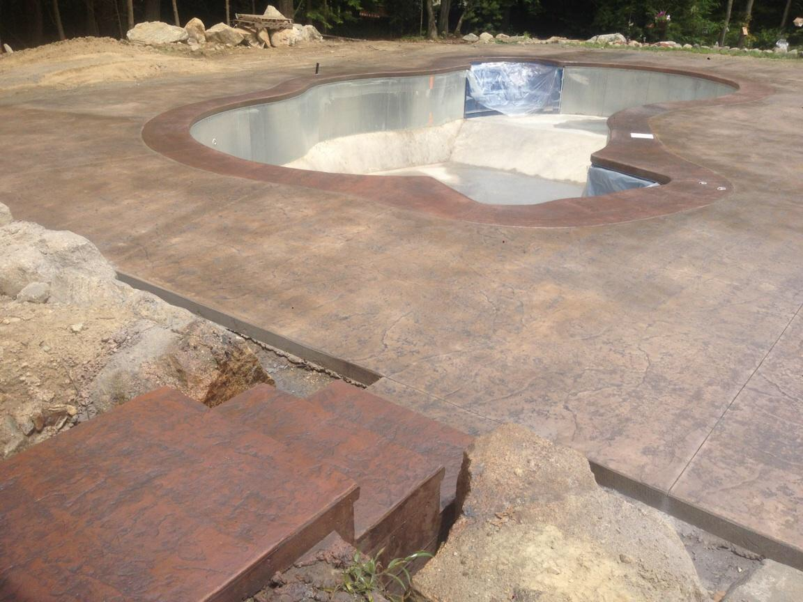 Colored Concrete Pool Deck Stamped Concrete Pool Decks  Affordable Pool Repair