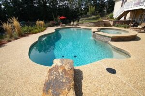 Exposed aggregate pool decking